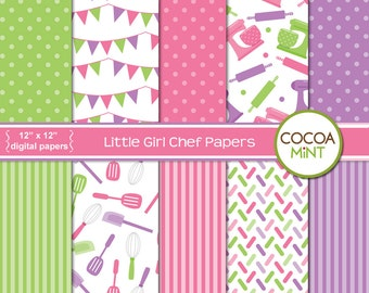 Little Girl Chef Digital Papers