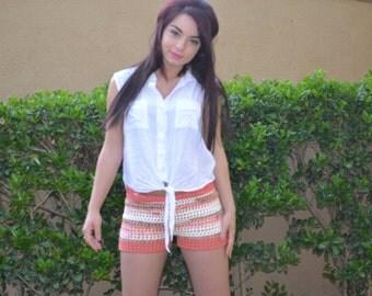 Crochet Shorts in Tangerine Stripes - Women Boy Shorts - Lace Shorts - Mesh Shorts - Open Weave Shorts