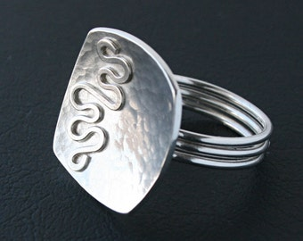 Bold Silver Ring - Sterling Silver Ring Hammered Square Shaped Statement Cocktail Ring with Swirl Design Accent