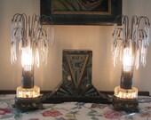 Pair of Art Deco 1930's era Waterfall Boudoir Lamps