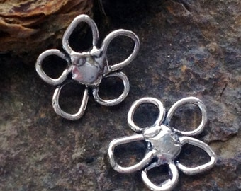 2 Sterling Silver Artisan Rustic Flower Charms - Connectors Dangles or Pendant Links - Happy Flowers AC169