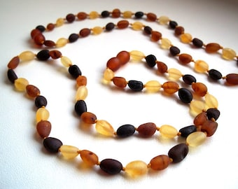 Raw unpolished Multicolour  Baltic Amber Baby Teething Necklace and Similar Remedy necklace for Mommy.