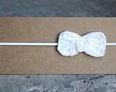 Headband, Baby Headband, White Skinny Elastic Shabby Bow Headband, Made to Size