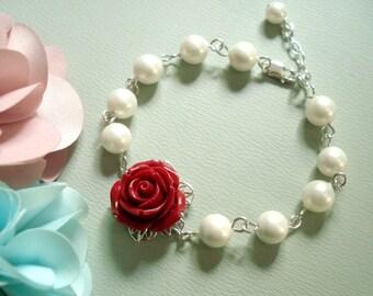 Red Rose Pearl  Bracelet ONLY , Flower Bracelet, Pearl Bracelet, Floral Jewelry,Bridesmaid Bracelet, Wedding Jewelry, Bridal Jewelry