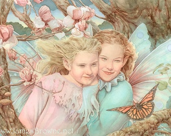 The Monarch Fairy Sisters Signed 8.5x11 Print Illustration