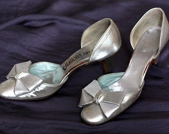 1960s Silver Heels with Bow Detail