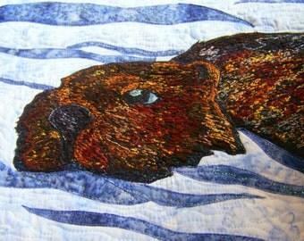 Beaver Textile Art Wall Hanging