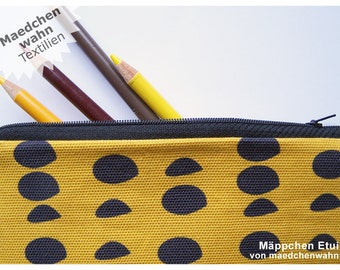 Maedchenwahn Fabric Organic Dot Pouch, Glasses Purse, Yellow Pencil Case, Mustard School Bag