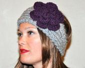 Headband Crochet Headwrap Earwarmer CHOOSE COLOR Gray Purple Crochet Flower Girly Romantic Gift under 50