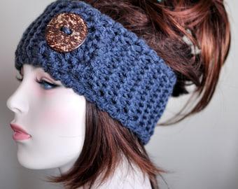Crochet Headband Head wrap Ear warmer CHOOSE COLOR Dark Gray Grey  Warm Hair Band Button  Gift under 50