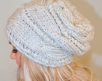 Slouchy beanie women Slouchy Hat Slouchy Beanie Cable Hand Knit Winter CHOOSE COLOR  Women Teen Linen Ivory Off White Chunky Hand Knit Gift