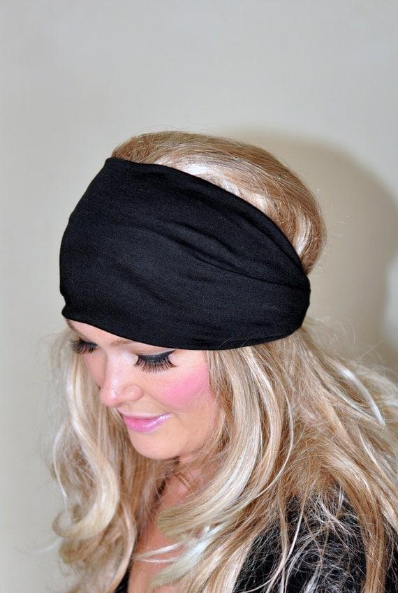 Black Headband Women Headband Stretch Hair Scarf Headwrap CHOOSE COLOR Helmet Jersey Gym Hair Covering Yoga Head wrap