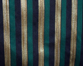 Dark Teal, Black and Gold stripes on hand-loom cotton silk, One yard