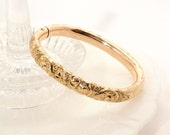 Antique Victorian Gold Filled Repousse Hinged Bangle Bracelet