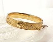 Antique Large Wide Victorian Hinged Bangle Bracelet by BB Bates and Bacon
