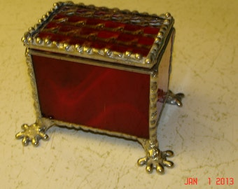 Fire Red Footed Stained Glass Trinket Box