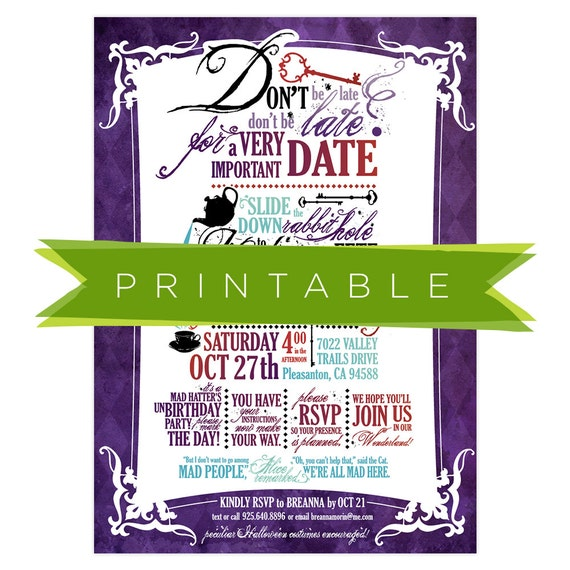 Alice In The Wonderland Invitations as good invitations layout