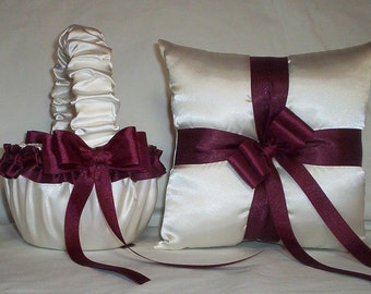Ivory Cream Satin With Burgandy Ribbon Trim Flower Girl Basket And Ring Bearer Pillow Set 2