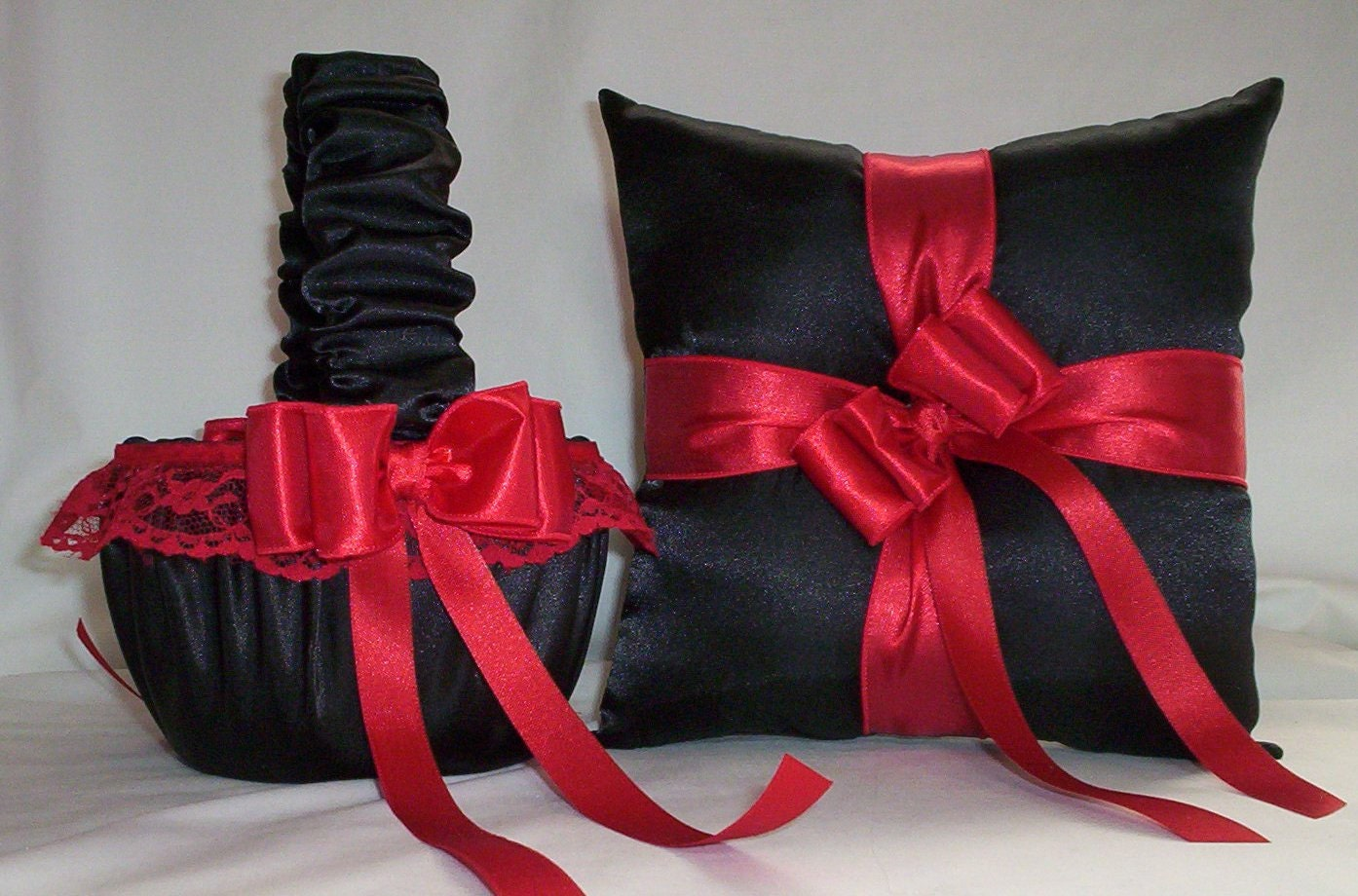 Black Satin With Red Lace Trim Flower Girl Basket And Ring