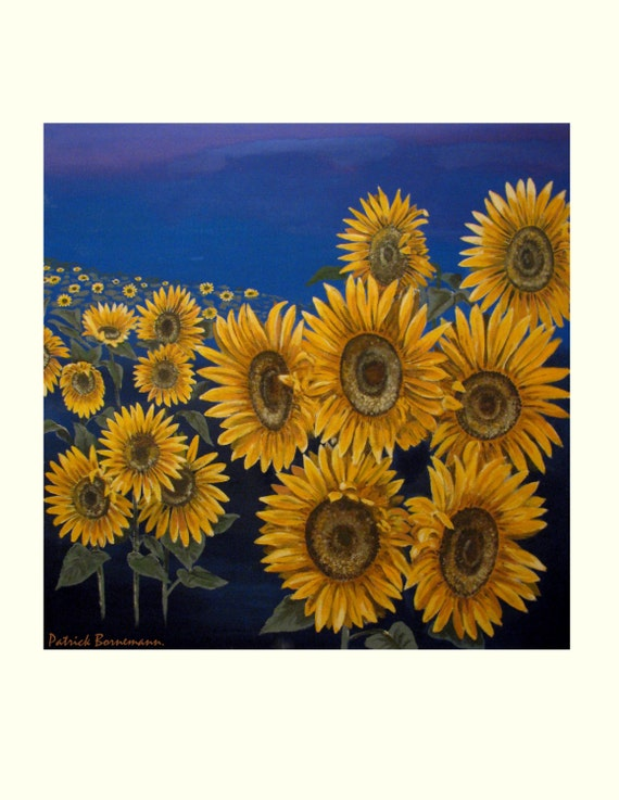 Sunflower,Soleil de Provence, Summer, Yellow Blue, Botanical, Original illustration Artist Print Wall Art, Free Shipping in USA.