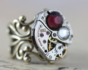 Statement Ring Unique Ring Steampunk Ring Watch Ring Steam Punk Jewelry Burgundy Ring Maroon Swarovski Crystal Cocktail Ring Filigree Ring