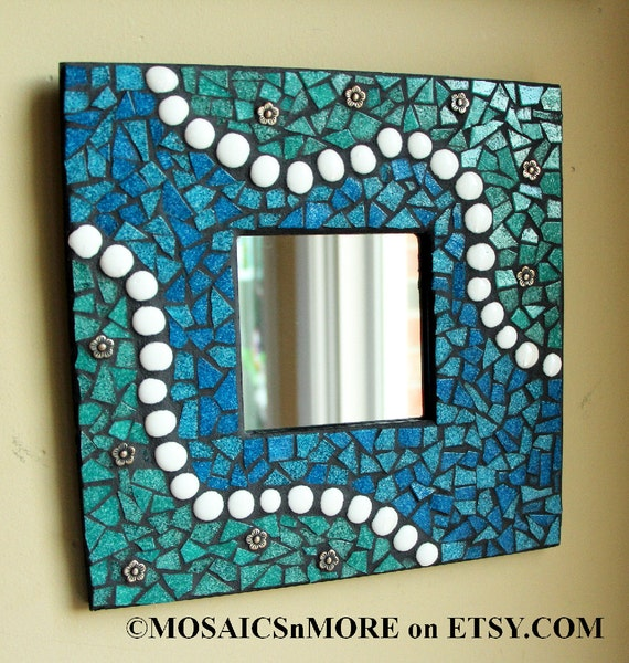 Wall Art In Mirror Frame : Blue green mosaic mirror fine art wall hanging handmade by