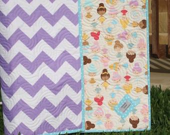 Chevron Quilt, Ballerina Baby Girl Blanket, Girlfriends Dolls, Purple Lavender Aqua Pink, Modern Bedding, Crib Cot Nursery