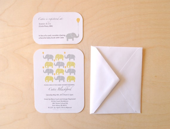 Custom Elephant Baby Shower Invitations - Set of 8