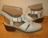 Vintage Nine West Women's Leather Strappy Sandals Stacked Chunky Wooden Heels Women's Size 7.5  7.1/2 Made in Spain Shoes
