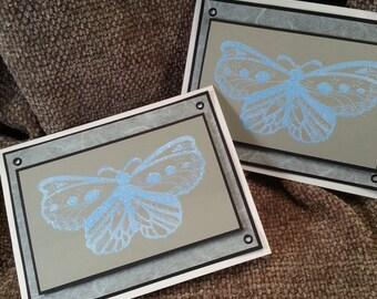 Set of 2 Sky Blue Butterfly Blank Cards