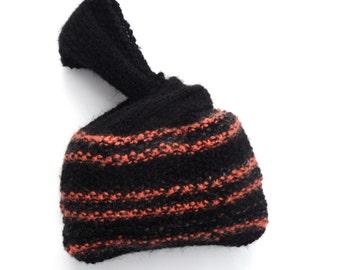 SALE , UK hand knit Wristlet bag , Clearance sale , black & orange purse , mothers day gift , striped bag , childs gift
