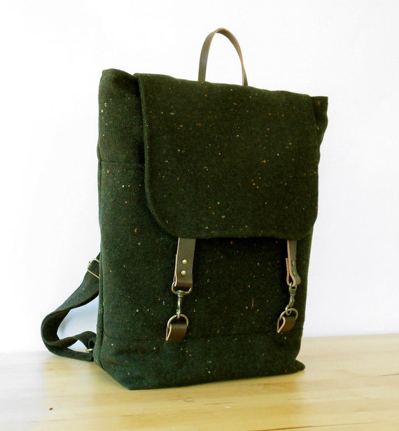LAST ONE. Melange forest green Wool Backpack, laptop bag, diaper bag with leather closures and 2 front pockets, Design by BagyBags