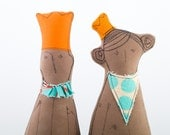 Stocking stuffers - African King and Queen in orange crowns dressed in shades of turquoise cream -  handmade eco fabric royal couple dolls