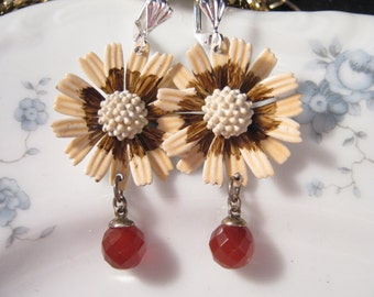 Reclaimed Vintage Earrings, Statement Assemblage, Flower Power, Vintage, Enamel Flower, Carnelian, Dangle, Pierced, OOAK - Peach Melba