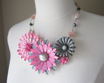 Statement Necklace, Vintage Enamel Flowers, Upcycled Vintage Brooch, Flower Power, Pink, Gray, Wedding, OOAK - Pink and Gray