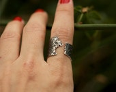 Hammered Silver Ring - Oxidized Silver Ring - Modern Silver Band