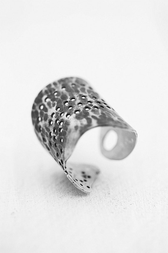 Wide Silver Ring, Cuff Adjustable Ring, Oxidized Ring, Modern Ring,
