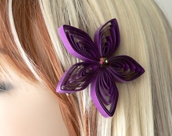 Purple Hair Clip, Purple Flower Hair Clip, Purple Flower Clip, Purple Hair Accessory