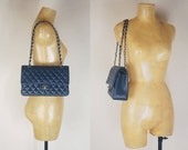 1980s Navy Blue Caviar Quilted leather Double Flap Silver Chain Purse/ Shoulder Bag
