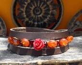 Red rose Triple wrap dark brown leather bracelet