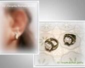 Hoop esrrings, Tiny pearls earrings, Gemstone earrings, Pearls jewelry, Little hoop earrings, Bearthstone earrings, Pearls stud earrings