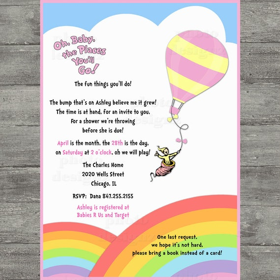dr seuss oh baby the places you 39 ll go baby shower invitation