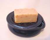 Soap Dish with Drain Tray - One Piece Soap Saver for Kitchen or Bath - Handmade Pottery Glazed Cobalt Blue