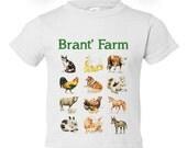 Toddler Boy, Girl PERSONALIZED T-Shirt, Onesie - My Farm, Educational, Fun, Cute