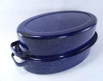 Sale 25% Off Use Coupon Code SAVE25 // Blue Speckled Enamel Roaster Vintage 30s