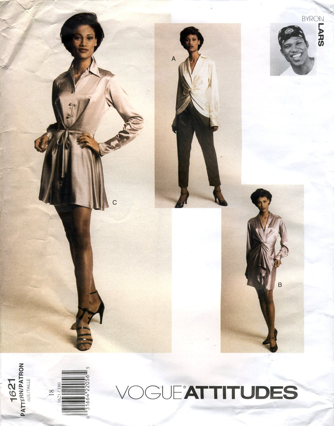 1990s Byron Lars dress, top, and pants pattern - Vogue 1621