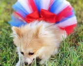 4th of July Fluffy Custom Dog tutu choose your colors SEWN XXS to xxl