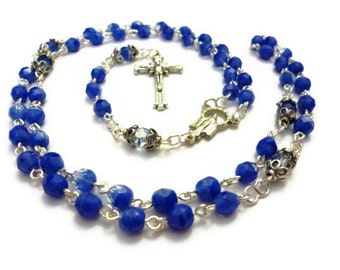Blue and Clear Czech Glass Rosary Silver