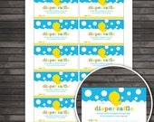 Rubber Ducky Baby Shower Diaper Raffle Tickets - Yellow and Blue - Instant Download - Rubber Duck Diaper Raffle Cards - Invitation Insert