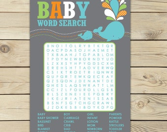Whale Baby Shower Word Search Game - baby shower printables - Instant Download - Aqua Blue Baby Shower Activities - Boy Baby Shower Games